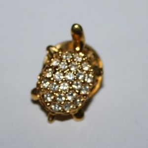 Adorable dainty turtle and CZ pin Vintage